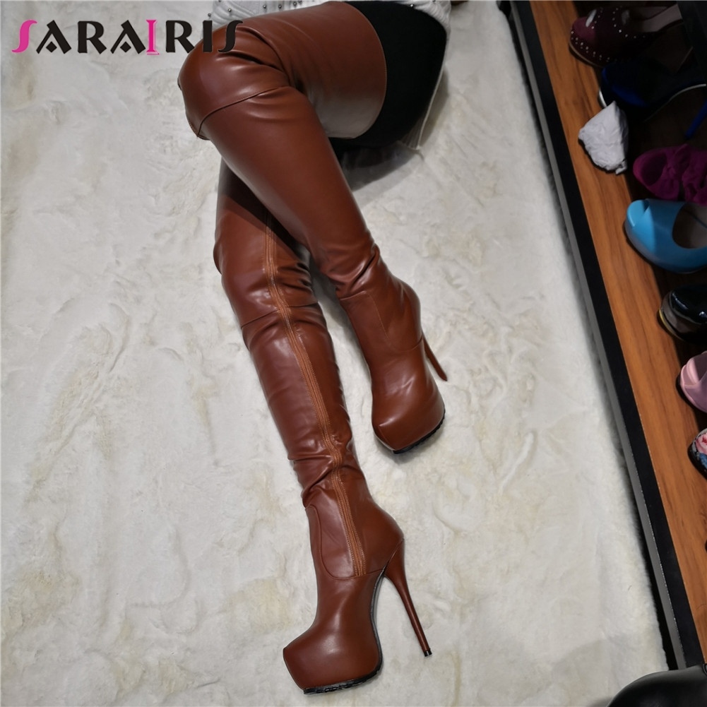 SARAIRIS Brand Design Big Size 35-47 Quality Sexy Women Shoes Woman Party Brown Thin High Heeled Over The Knee Boots Long BootsSARAIRIS Brand Design Big Size 35-47 Quality Sexy Women Shoes Woman Party Brown Thin High Heeled Over The Knee Boots Long Boots