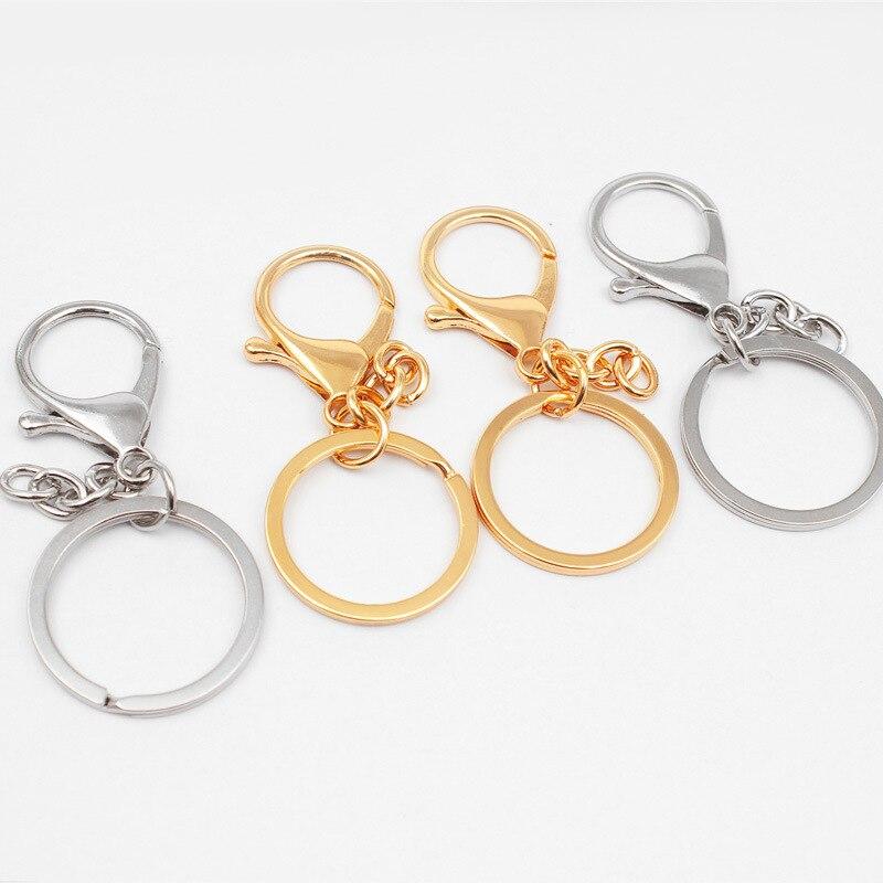 все цены на 10pcs/lot Classic Key Chain Ring 30mm Metal Lobster Clasp Clips Key Hooks Keychain Split Ring DIY Bag Jewelry Wholeale онлайн