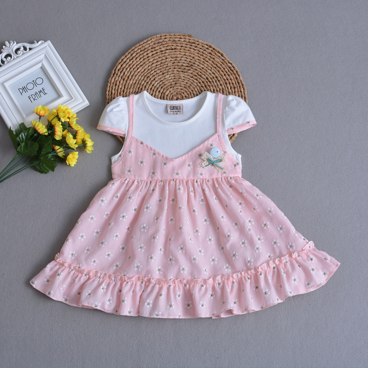 Brand Floral Baby Girls Dresses Pink Cotton Baby Girl Fashion Birthday Toddler Baby Girl Clothes for 1 2 3 4 Years Old RBD184002