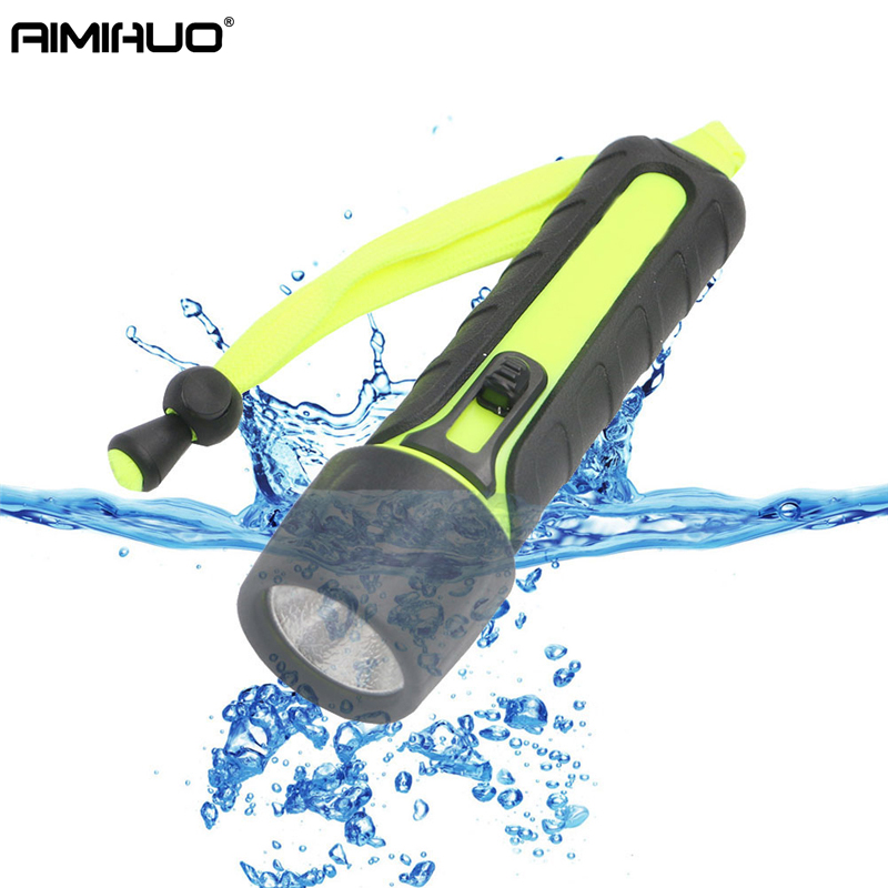 AIMIHUO LED Diving Flashlight Hard Light Outdoor LED Camping Torch Lamp 3W Underwater Flashlight Waterproof Light For AA Battery