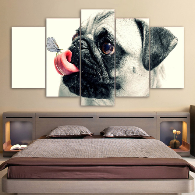 Drop Shipping HD Printed 5 Piece Canvas Art Cute Pet Dog Painting Pugs Wall Pictures for Living Room Framed Poster