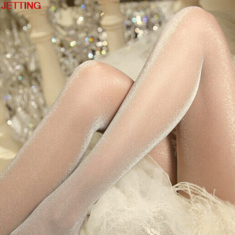 New Sexy Oil Shiny One Line Crotch Stockings For Women Smooth High Waist See Through High Elastic Pantyhose