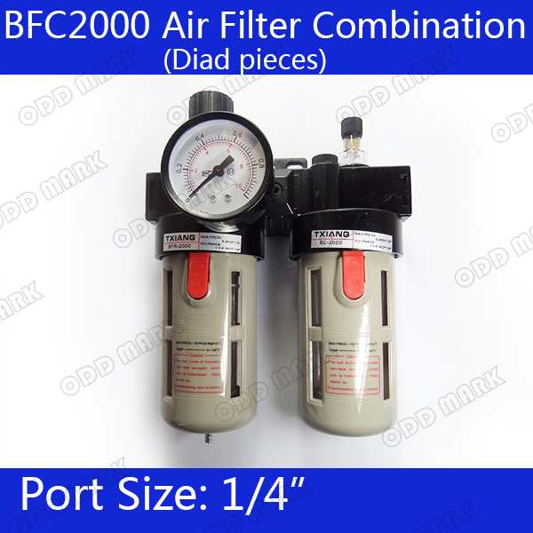 BFC2000 Free Shipping 1/4 Air Filter Regulator Combination Lubricator ,FRL Two Union Treatment ,BFR2000 + BL2000 free shipping g3 4 size ac series frl air combination kit ac5010 06 two units 5pcs per lot