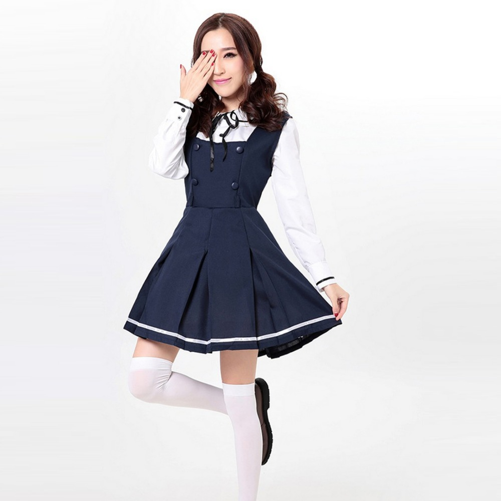 Spring Summer Women Lolita Dress Cotton Casual Shirt Dress Navy