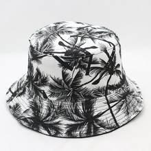 0c4f4022d0299 New Unisex Fashion Summer Reversible Black White Coconut Tree Printed  Fisherman Caps Bucket Hats Gorro Pescador