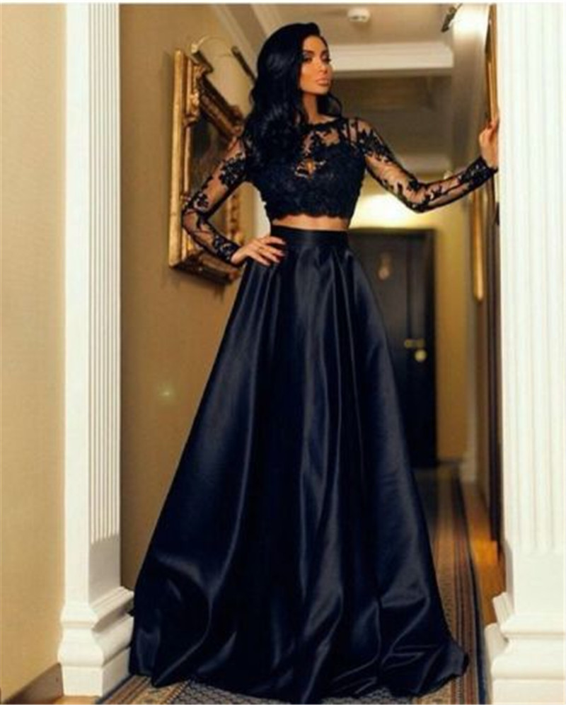 2pcs Sexy Women Long Sleeve Lace Floral Hollow Out T-shirt High Waist Black Solid Party Formal Prom Long Maxi Skirt Hot Seller