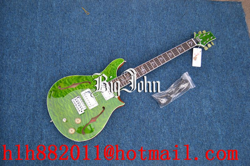 free shipping new Big John hollow electric guitar in green with stick green flower mahogany body  F-3356 free shipping new big john lp electric guitar in blue with mahogany body 1049
