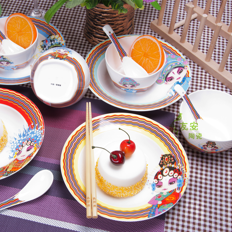 Dining Room Plate Sets Beijing Opera Mask Tableware Ceramic Catering Dishes