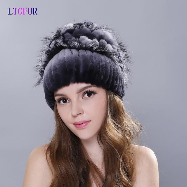 LTGFUR 2016 chapéu de inverno malha chapéus para 100% coelho rex chapéu com pele de raposa flor top tamanho livre das mulheres casuais chapéu