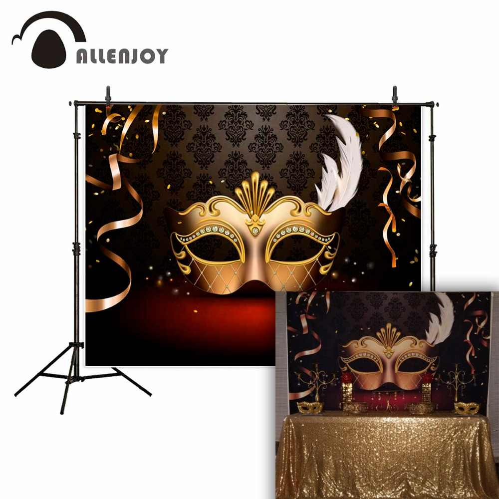 Allenjoy masquerade party beautiful mask on damask background ribbons fund background vinyl camera photographic professional