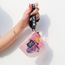 Bentoy Transparent ID&Credit Card Holder Wallets Glitter Purse Women Wallet Coin Mini Pouch Folding Hanging Neck INS Korea Styl