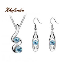 New Crystal Jewelry Sets Necklaces Stud Earring Silver Color Jewelry Set For Women(China)