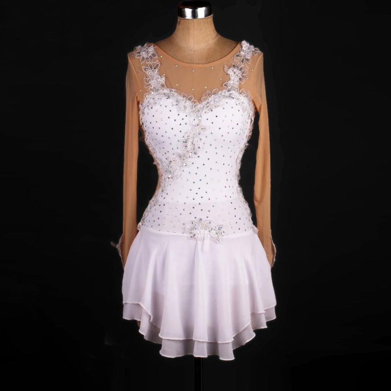 White Crystal Custom Figure Skating Dress Woman Girl Adult Ice Skating Dress Figure Skating Dress Long Sleeve