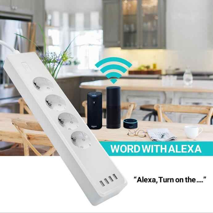 Tuya Smart Wifi Power Strip Eu Standaard Met 4 Plug En 4 Usb-poort Compatibel Met Amazon Alexa En Google nest