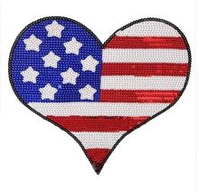 DD 1pcs/lot Sequins Hearted Flag Iron on Patches for Clothes Jeans Big Motif Embroidery Applique Heart Sequined Patch Sewing DIY