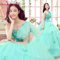 Beauty Emily Sky Blue Long Ball Gown Quinceanera Dresses 2018 Princess Girl Dresses Sweetheart Sleeveless Lace Up Party Gowns