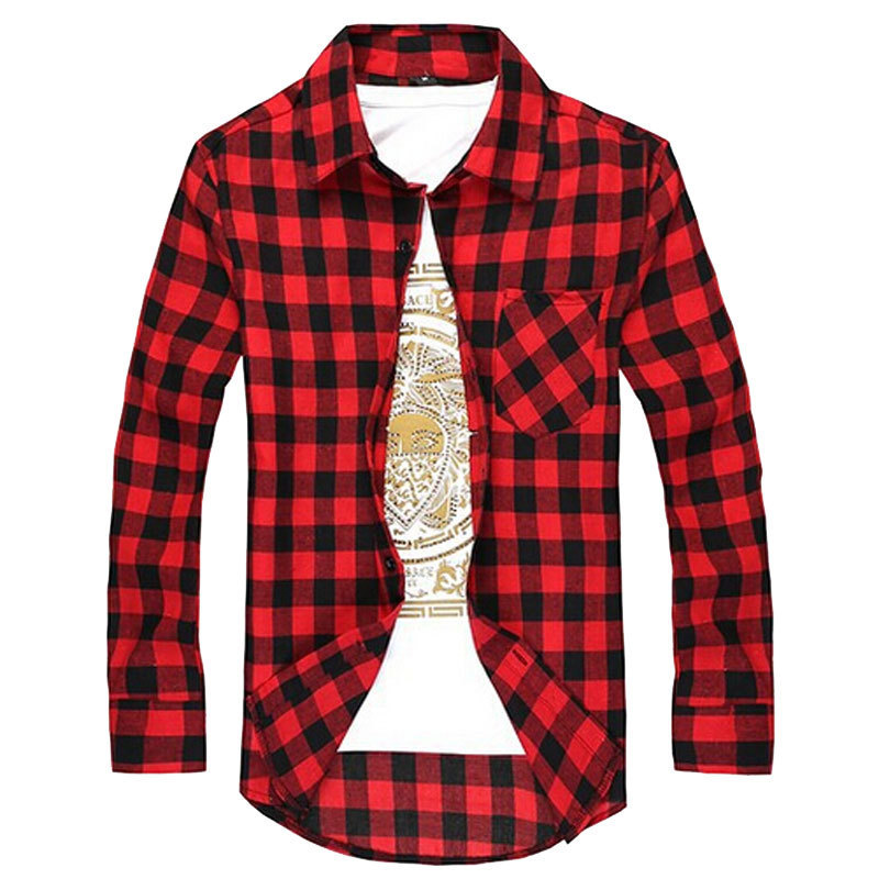 New 2016 Plaid Shirts Slim Fit Men Casual Long Sleeve Check Cotton ...