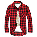 New 2016 Plaid Shirts Slim Fit Men Casual Long Sleeve Check Cotton Red Black Blue Purple Camisa Social Masculina Chemise Homme