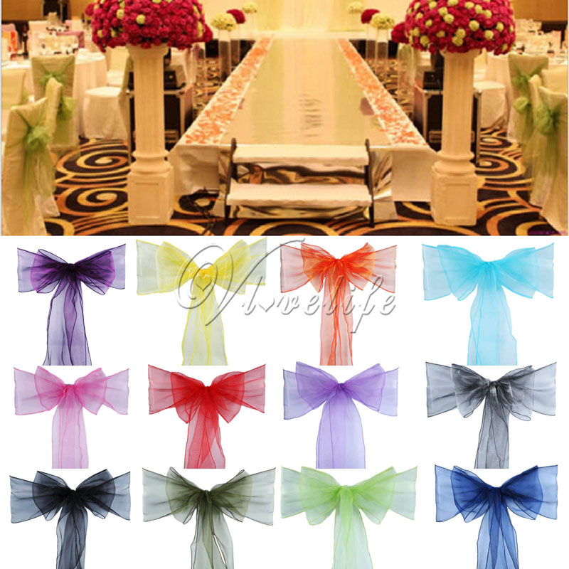 50pcs Organza Chair Sash Bow For Banquet Wedding Party Event Xmas Decoration Sheer Organza Fabric Supply 18cm*275cm