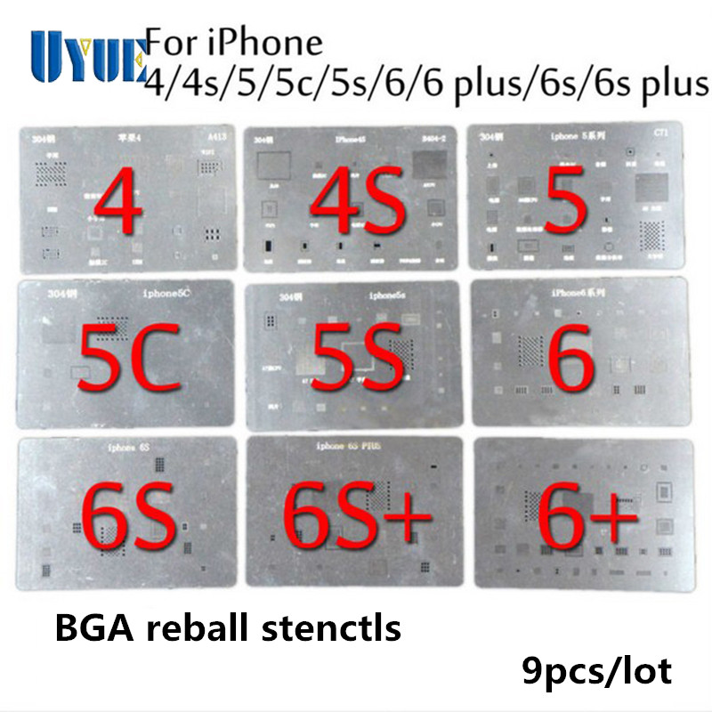 9Pcs/Lot High Quality Full Set BGA Reballing Stencil Dedicate Kit for iPhone 4 4S 5 5S 5C 6 6+ 6S 6S+ Free Shipping