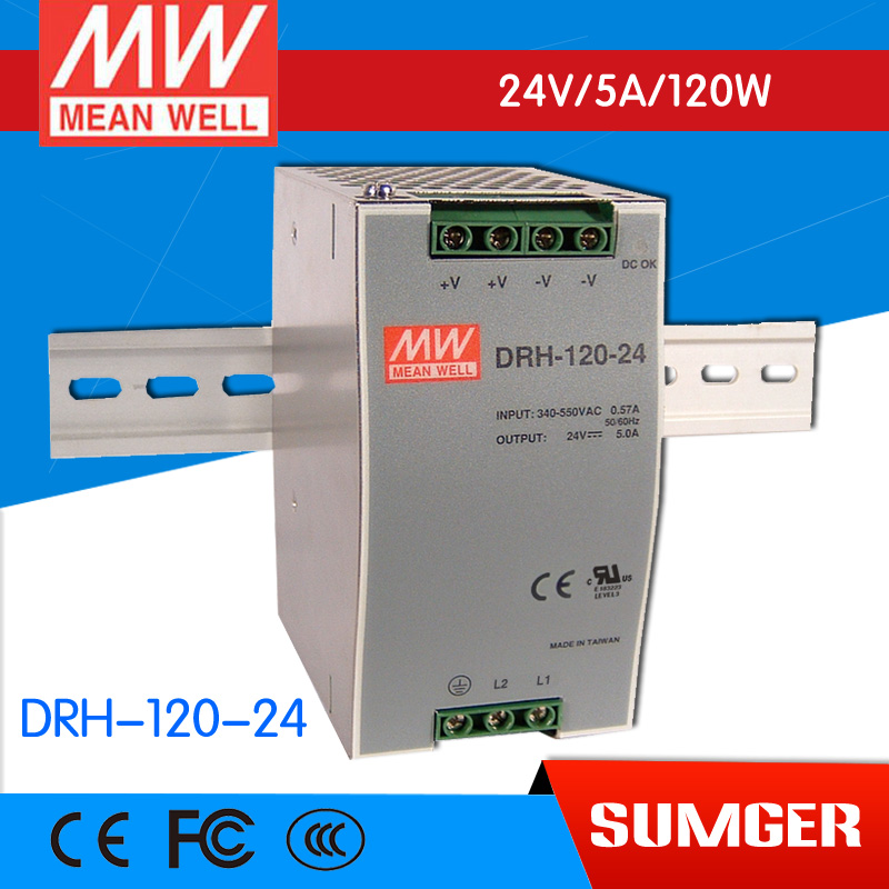 [Sumger2] MEAN WELL original DRH-120-24 24V 5A meanwell DRH-120 24V 120W Single Output Industrial DIN RAIL Power Supply original mean well drt 960 24 960w 40a 24v three phase industrial din rail meanwell power supply drt 960