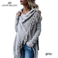 Funny Women Sweaters Tassel Cross Cut High Low Christmas Knit Tops Scarf Neck Loose Oversized Jumers