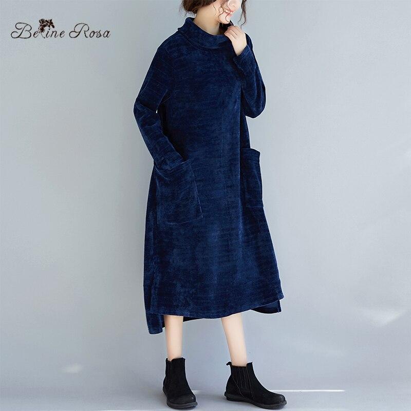 Tyw00953 Femmes Robes De Taille Velours Col Robe La Belinerosa Plus D'hiver Royal Haut 2018 Bleu 3TF1cJlK