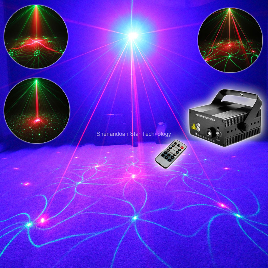 Remote Mini R&G 18 patterns Laser Projector Gobo Blue Led Club Party Bar DJ Lighting Dance Disco Xmas party Stage Light N75B155