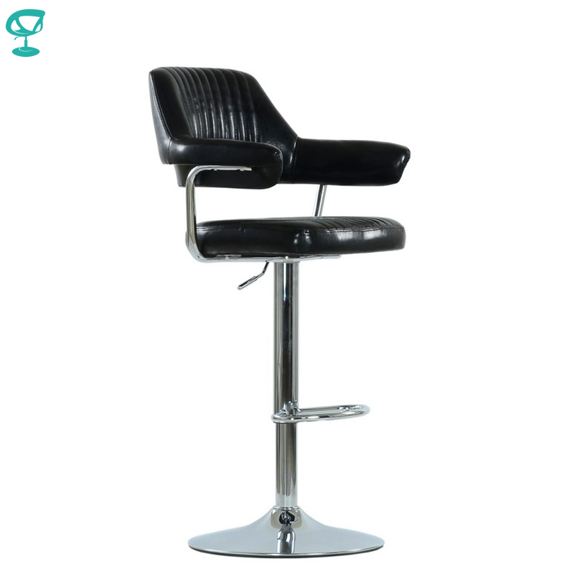 94532 Barneo N-152 Leather Kitchen Breakfast Bar Stool Swivel Bar Chair Black Color Free Shipping In Russia