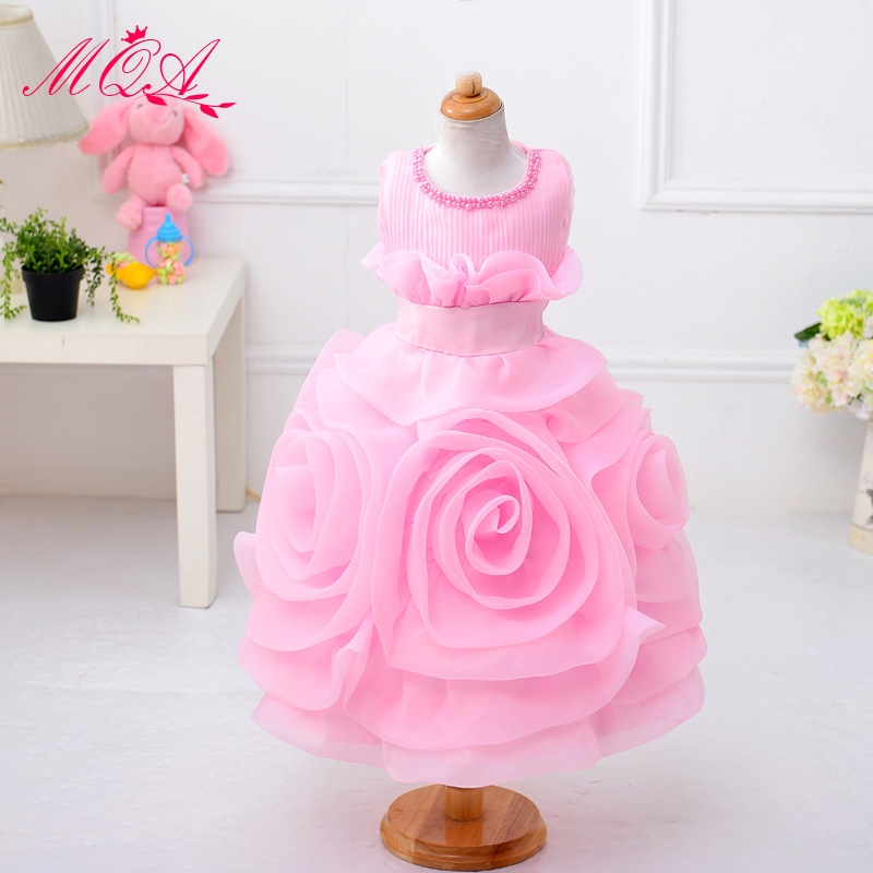 цены  Baby Toddler Dress New 2017 Flower Pearl Princess Party Bridesmaid Wedding Pageant Dresses for Girls Christmas Costume GDR238