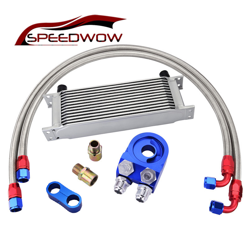 SPEEDWOW 13 ROW 10AN Engine Racing Oil Cooler+Oil Filter Cooler Sandwich Adapter+AN10 Swivel Hose Fitting With Divider Clamp цена