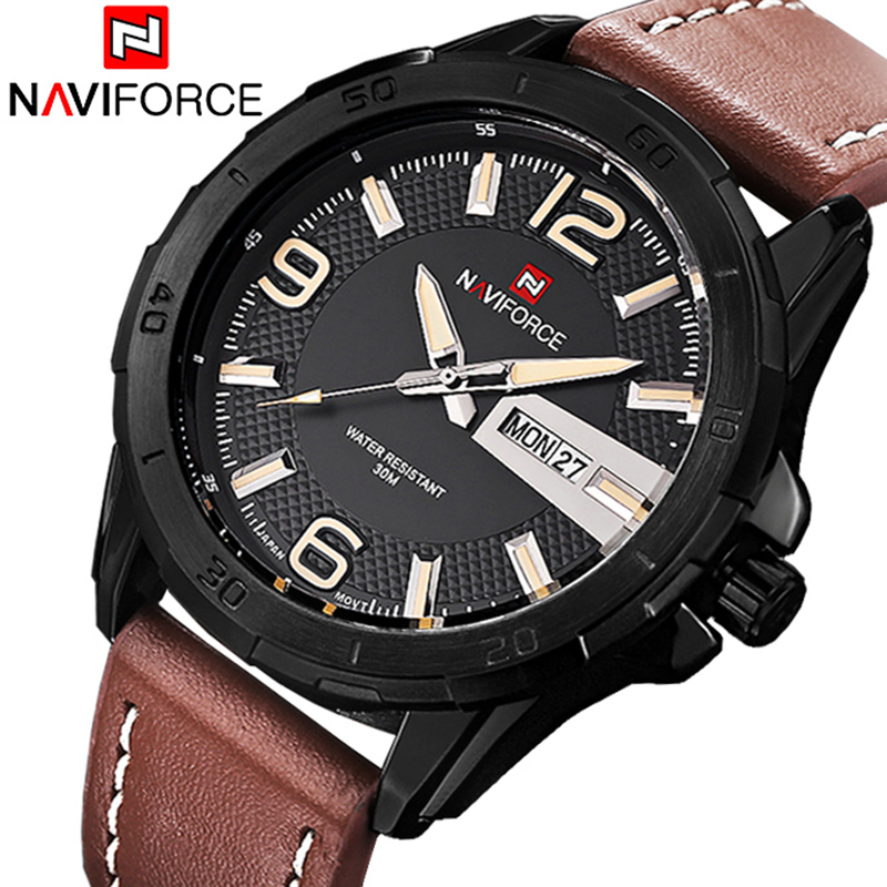 2017 New Fashion Brand Men Sports Watches Men's Quartz Clock Man Army Military Leather Strap Casual Watch Relogio Masculino 2018 new fashion casual naviforce brand waterproof quartz watch men military leather sports watches man clock relogio masculino