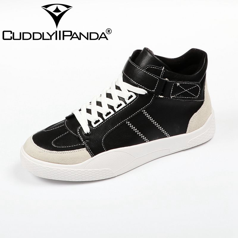 CUDDLYIIPANDA 2018 High Quality Men Shoes 2018 Fashion High Top Casual Men Genuine Leather Spring Autumn Shoes 2017 new spring imported leather men s shoes white eather shoes breathable sneaker fashion men casual shoes