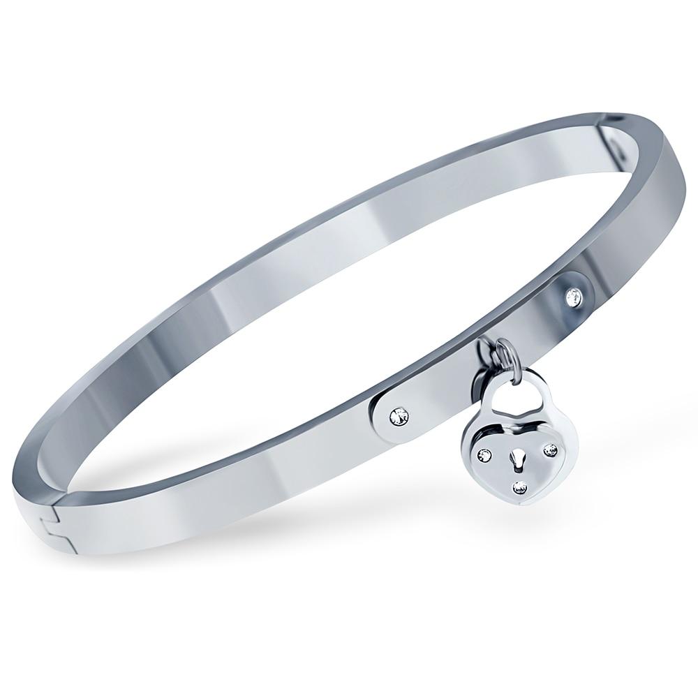 Classic Brand Forever Love Heart Bangle & Bracelet For Women Jewelry Lock Bracelets Stainless Steel Crystasl Bangles