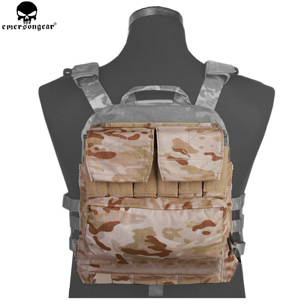 EMERSONGEAR Back Pack Zip on Panel For AVS JPC 2.0 CPC Vest Hunting Airsoft Paintball Combat Backpack Multicam Black  EM9286