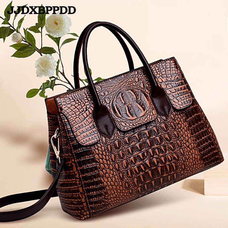Mode luxe marque Crocodile sac femmes en cuir sac à bandoulière peau de crocodile sac à main dames Messenger fourre-tout femmes sac noir