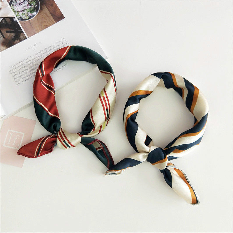 Small Scarf Soft Hair Tie Band Decorative Multifunctional Head Scarf Multicolor Stripe Print Kerchief Neck