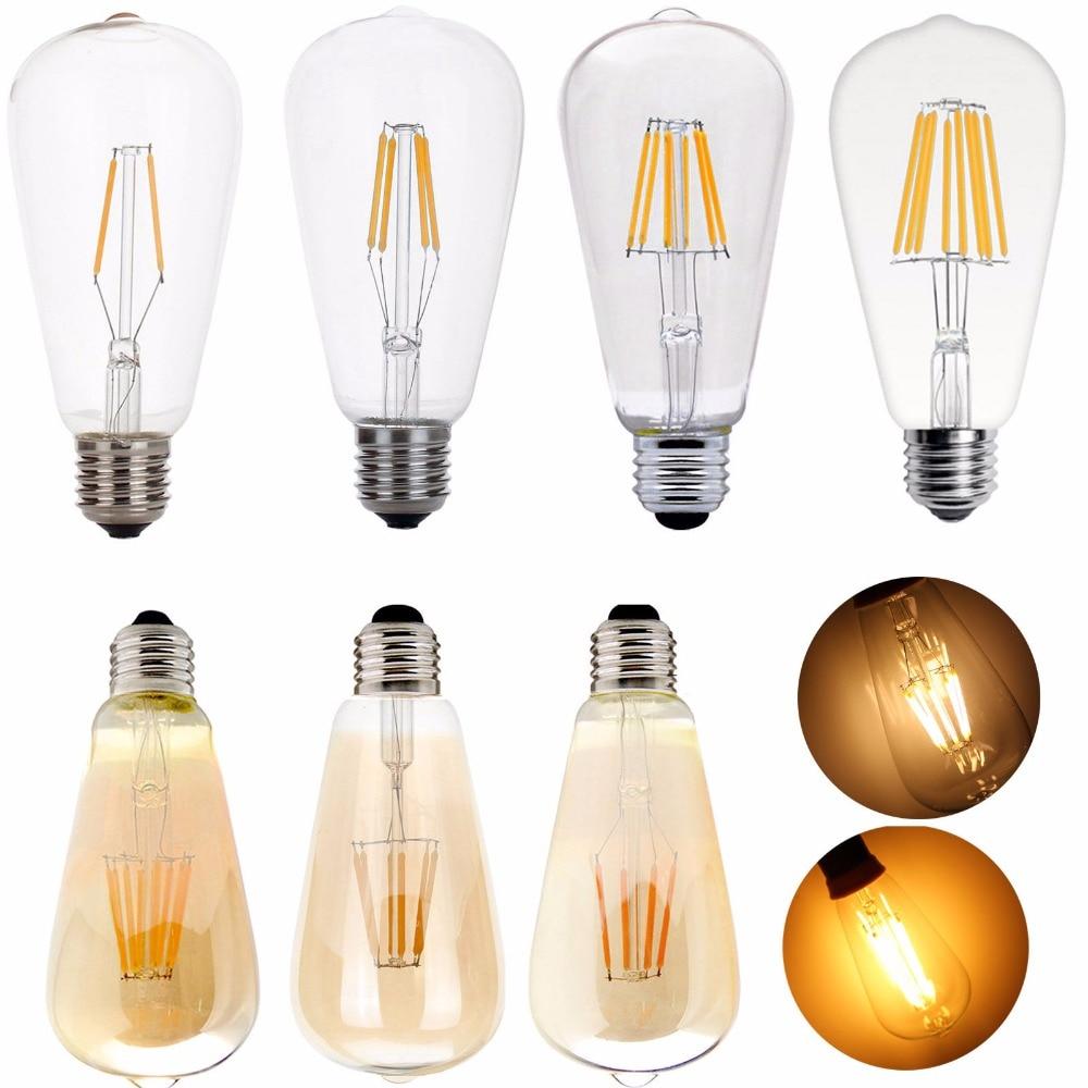 Dimmable E27 ST64 LED Bulb Light Lamp 4W 6W 8W Edison Retro Vintage Lamps Decor Light Filament Bulb AC 220V 85-265V 5pcs e27 led bulb 2w 4w 6w vintage cold white warm white edison lamp g45 led filament decorative bulb ac 220v 240v