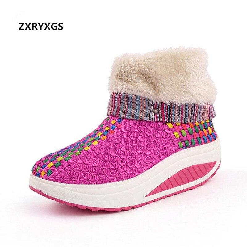 c2872c37 Botines Shake Zapatos Invierno Orange 2018 Mujeres Moda Terciopelo Red  Comfort purple rose Casual Caliente Más ...