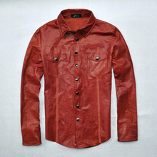 Free Shipping Mens Genuine Leather Blouse Fashion Wine Red Leather Shirts Slim Fit Mens Red Leather Jackets Mens Leather Coats