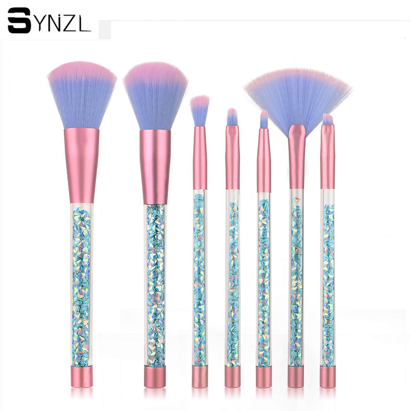 7Pcs blue glitter makeup brushes Facial Powder Foundation Eyeshadow eyebrow eyeliner concealer Cosmetic brushes with bag 8pcs makeup brushes cosmetics eyeshadow eyeliner brush kit 15 color concealer facial care camouflage makeup palette sponge puff