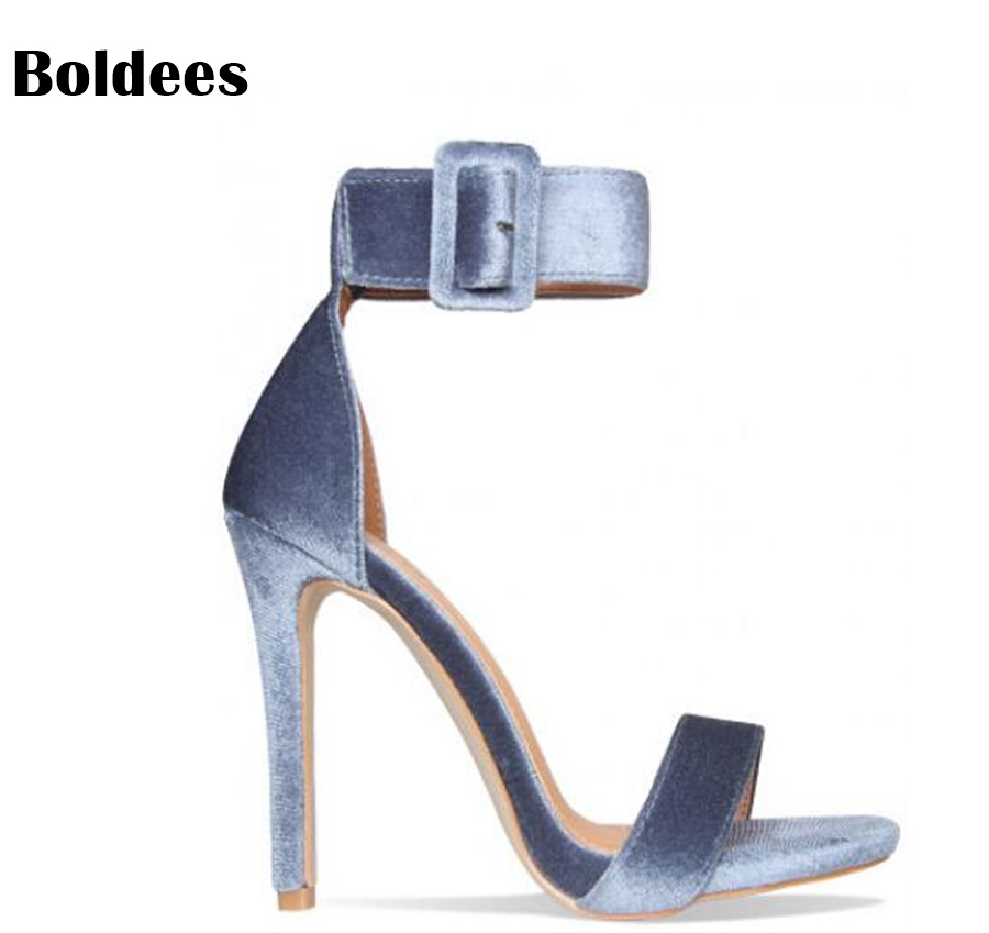 Sexy Velvet Women High Heels Wide Buckle Ankle Strap and Stiletto Heel Wedding Party Shoes Summer Designer Sandals 2017 new arrival abnormal jeweled heels rhinestone crystal embellished high heel sandals ankle strap lock summer party shoes