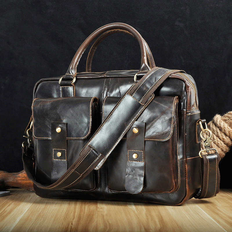 Men Original Leather Design Travel Business Briefcase 14