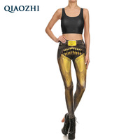 QIAOZHI 2017 Retro Bandage Bullet Armor Fighter Comic Fitness Legging 2 Piece Set Pants And Tops