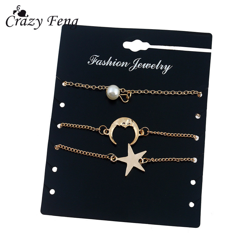 Crazy Feng Charm Imitation Pearl Pulseira Gold Color Star Moon Pendantes Chain Bangles & Bracelet For Women Girls Christmas Gift