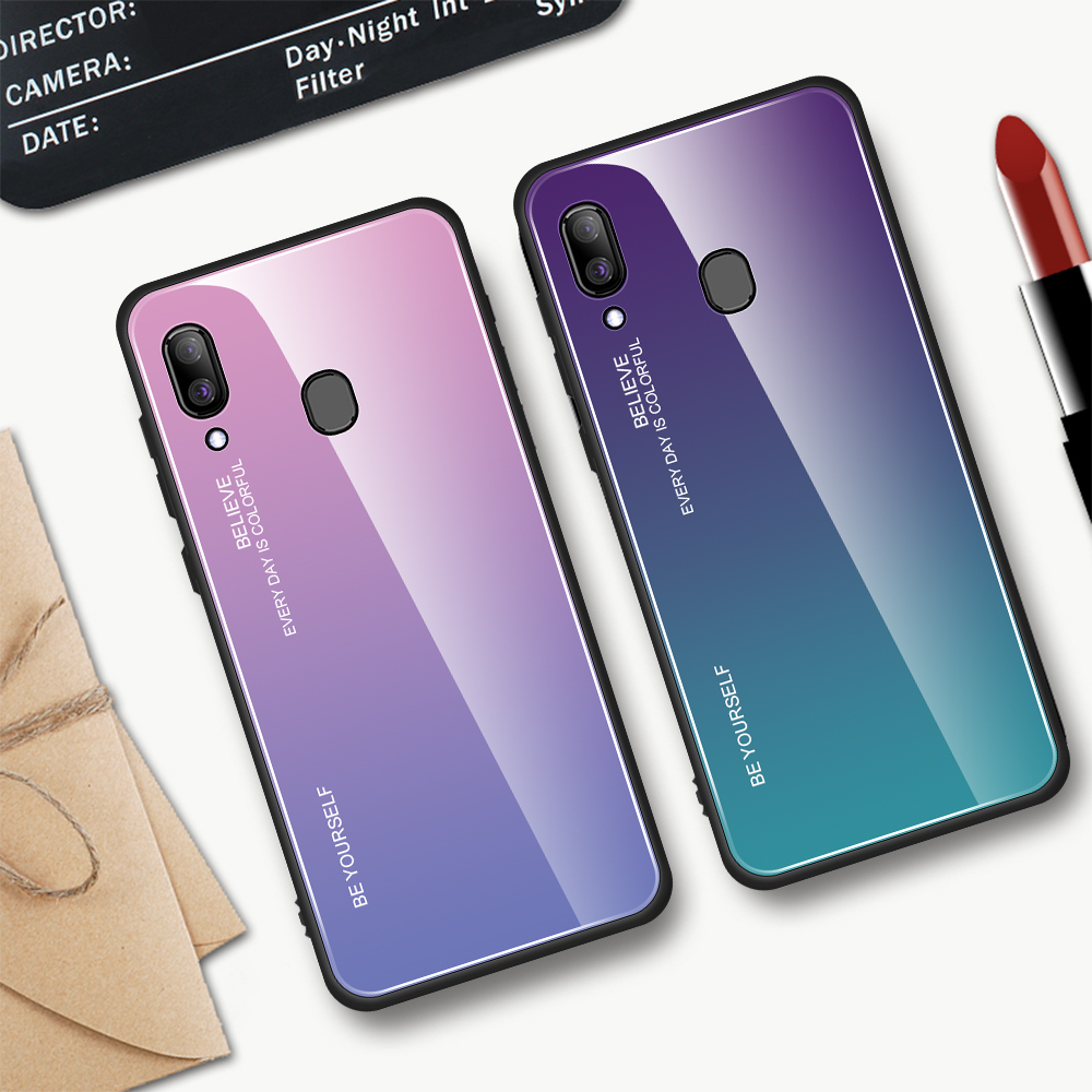 For Samsung Galaxy A20E A20S A20 Gradient Tempered Glass Case For Samsung Samsun A20 E S A 20e A20e Aurora Colorful Back Cover