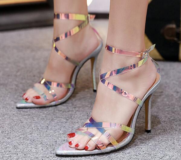 A Correa Recortes Verano Zapato Tobillo Color De Delgada Tacones Pictures Pvc Tacón Sexy Gladiador 2019 Señora Láser As Mujer Sandalias Nuevo Alto 8xwdPpp