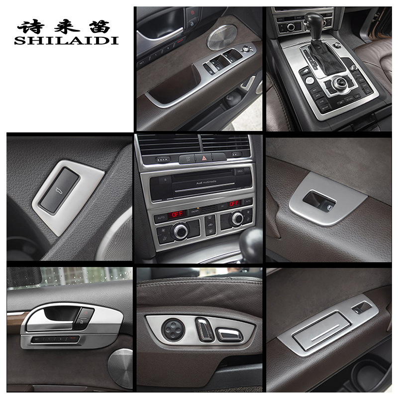 Car Styling Interior Buttons Panel Decoration Cover Trim Sticker Frame For Audi Q7 Stainless Steel Interior Auto Accessories LHD