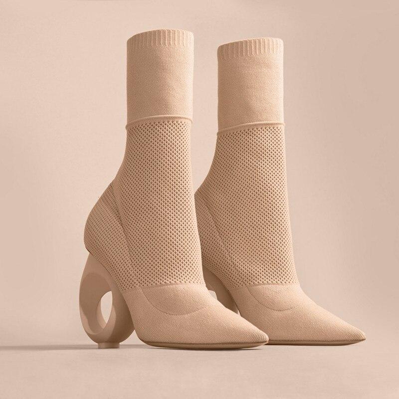 Feminina Zapatos Invierno Mujer Moda Punta Telas Beige Otoño Donna Stretch Scarpe Mujeres Estrecha Elástico negro Botas Zapatillas qYp7zw