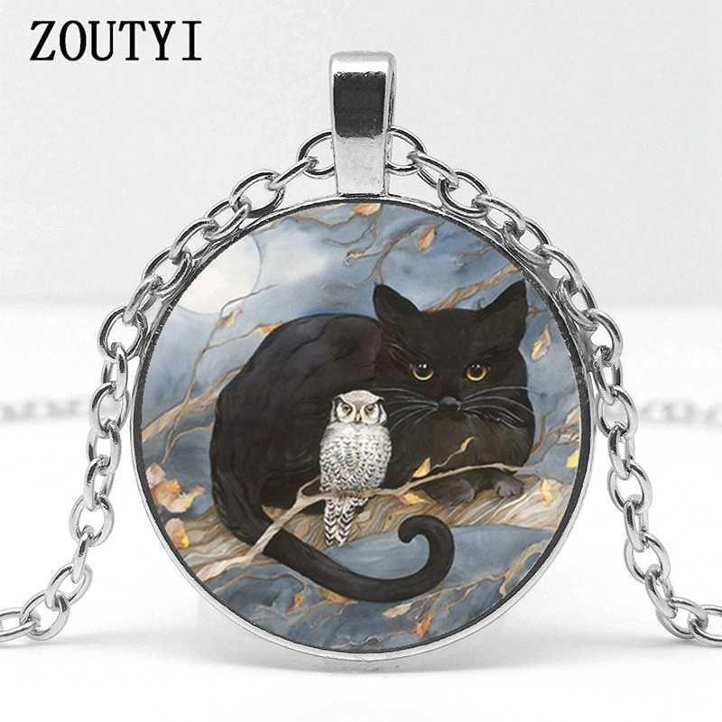 2018 / hot sale, retro art cat and owl pattern pendant necklace, men and women wear pendant necklace jewelry.
